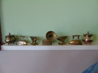 Collection of Vintage Brass Miniatures ~ Gramophone, Anvil x 2, Iron x 2 & Pots