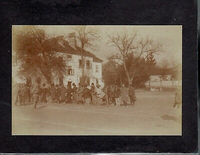 People and military soldiers in street Orsova Romania 1916 postcard