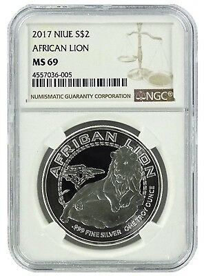 2017 Niue 1oz Silver Lion Coin NGC MS69 - Brown Label