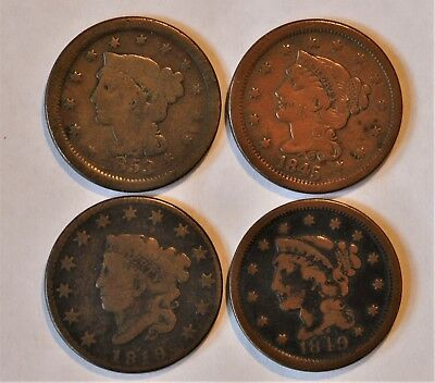 Group Of Large Cent 1853, 1845, 1849, 1819