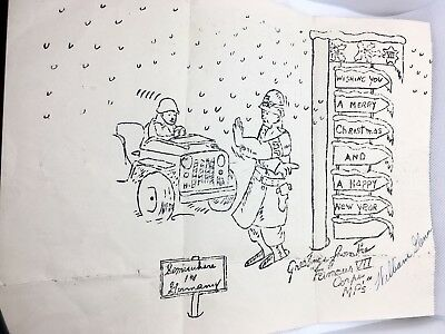 """WWII WW2 V-Mail Christmas Greeting  From """"Famous VII Corps MPs"""" Germany"""