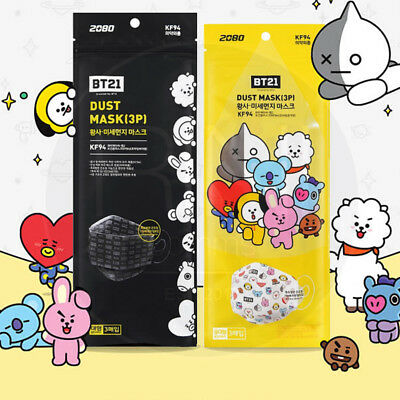 BTS BT21 Official Dust Mask Adult size 3P Balck or White by aekyung + Track #