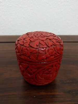 Vintage Chinese Carved Lacquer Cinnabar Trinket Box