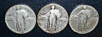 Lot of 3 Circulated, Standing Liberty Silver Quarters 1928-S; 1929-S; 1930-S
