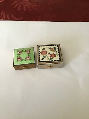 2 small Cloisonne Metal Boxes