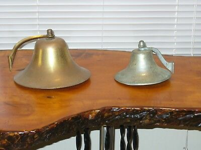 "2 VINTAGE PERKO ? BRASS SHIP'S BELL LARGE 8-1/4"" w MT BRACKET - Fog Bell LARGE"