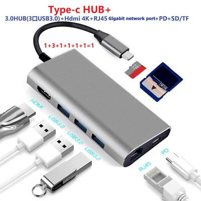 8 Ports Type-C HUB To 4K Video HDMI RJ45 PD Charging SD/TF Card Reader Adapter