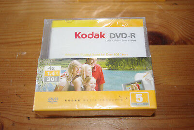 Pack of 5 Kodak DVD-R x4 / 1.4GB / 30 Minute Mini-DVDs with Cases