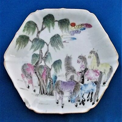 ANTIQUE CHINESE ' HORSES ' FAMILLE ROSE TAZZA  - Red Seal Mark - 19th. Century .