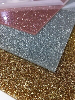 Perspex acrylic sheet glitter gold silver rose 3mm sparkle craft plastic UK