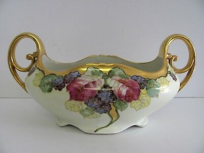 "Antique Royal Vienna Art Nouveau Bowl Centerpiece 14 1/2"" Hand Painted Grapes"