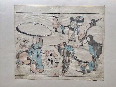 Hokusai Katsushika Antique Original Japanese Woodblock Print Glued In Cardboard