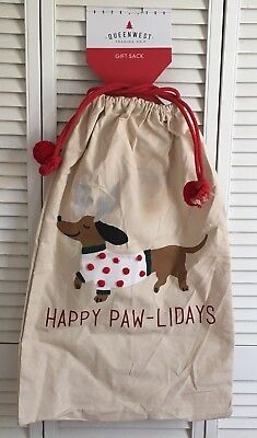 Dachshund Wiener Dog Christmas Holiday Large Canvas Drawstring Gift Bag Sack NEW