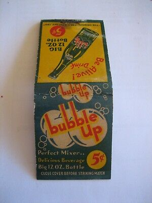 Matchbook Matchbook Cover Old  Bubble UP Soda Pop  5 cents Full Book