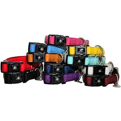 DOG PUPPY COLLAR Leatherette/Nylon SOFT PADDED Adjustable Clip On Buckle