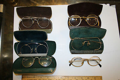 Vintage Eyeglass and Case Lot 6 Pairs 5 Cases 3x Gold Filled (Marked) WOW!  JSH