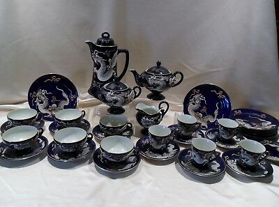 33 Pc. Antique Colbalt Blue Raised Dragon Tea Set