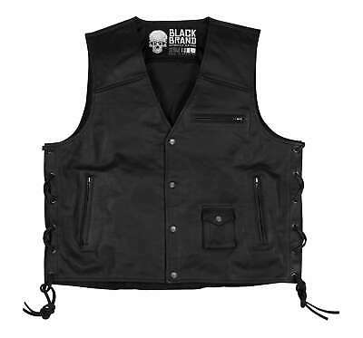 Black Brand Men's Axe Side Lace Leather Cruiser Street Motorcycle Riding Vest