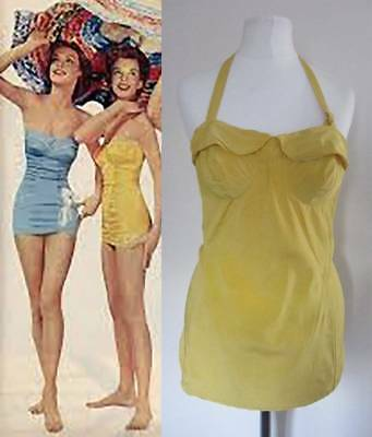 50's vintage swimsuit yellow pin up girl halter neck size 12 curvy girl