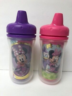 The First Years Insulated Sippy Cups, 9 oz., 2 Pack, Disney Minnie Mouse, EUC