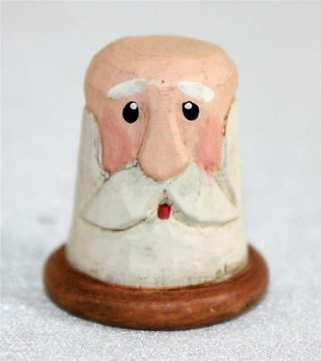 Wood Carved Santa Clause Collectible Souvenir Thimble Hand Painted Christmas