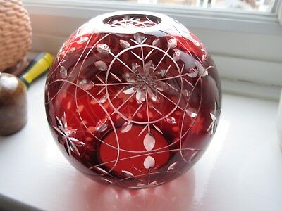 Vintage Etched Ruby Glass Shade