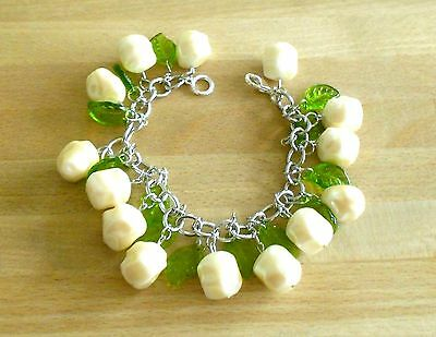 Handmade Unique OOAK Floral Baroque Abstract Pearl Bead Cha Cha Charm Bracelet