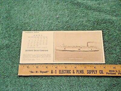 Vintage State Of Michigan Steamer Detroit Trust Blotter Unused 1948