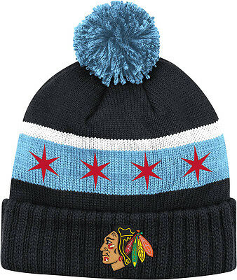 f49036b8747 Youth Chicago Blackhawks Chicago Flag Cuffed Knit Pom Hat NHL Official  Reebok