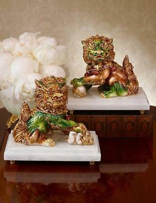 Jay Strongwater SET OF 2 Shin Foo AND Yin Foo Dog Figurines - Limited Editions!