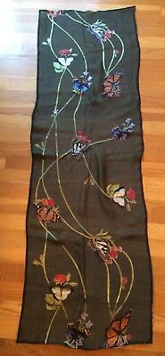 Metropolitan Museum Of Art Long Silk And Rayon Scarf Doubled Sided Green Italy