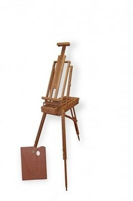 Large Traditional Portable Wooden Box Easel (Dark Brown) Outdoor Artwork