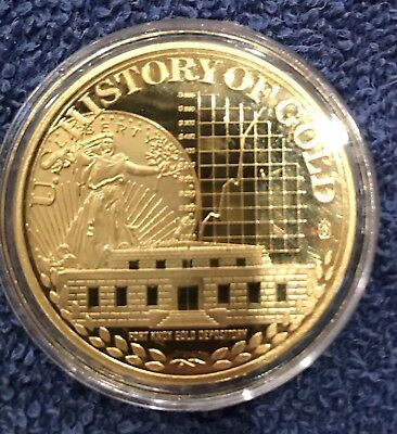 1937 FORT KNOX GOLD VAULT. AMERICAN MINT 32g LAYERED 24kt GOLD 40mm. 2010 w/COA.