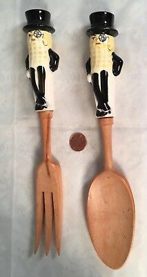 Planters Mr Peanut Wooden And Ceramic Salad Fork And Spoon – Excellent
