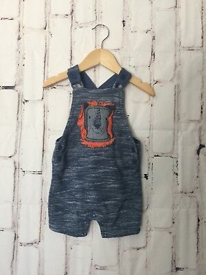 F&F Baby Baby Boys Shorts Suit Size 6/9 Months Blue Lion Print Overall Suit