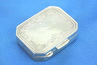 Vintage Silver Miniature Trinket Snuff Or Pill Box With Engraved Flower Detail