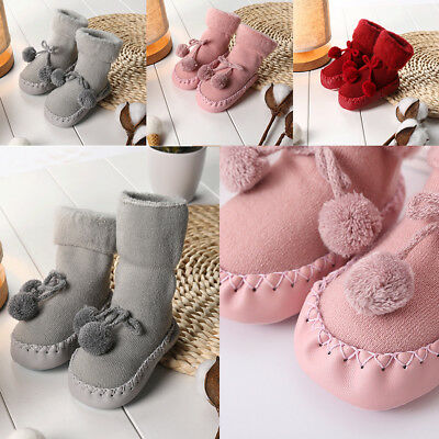 Toddler Baby Boy Girl Anti-Slip Boot Socks Cartoon Warm Socks Shoes Slipper UK