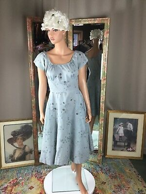 Vintage 50's Pinup Grey Blue Swing Dress Size 10 X Wide Skirt Not Perfect
