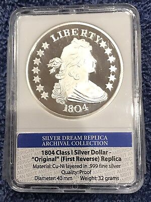 Slabbed American Mint 1804 Class 1 Silver Dollar Proof. Archival Collection.