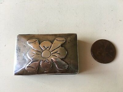 Vintage Sterling Silver Pill Box With Applied Flower