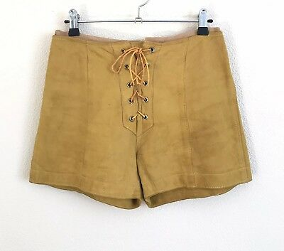 Vintage 1970's Mustard High Waisted Leather Shorts with Lace-up Front UK 8-10