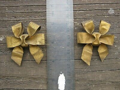 French Brass Ribbon , Bow Decoration , Nail Cover Pair,