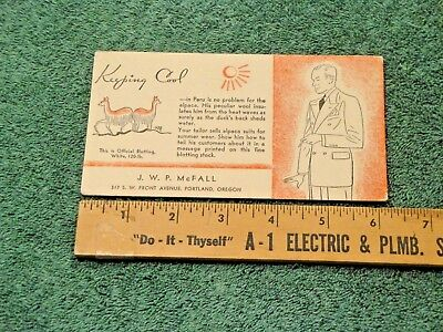Vintage Alpaca Wool Advertising Blotter Peru Unused