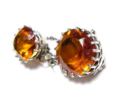 Beautiful Antique Victorian Silver & Amber Coloured Paste Stone Brooch (C8)