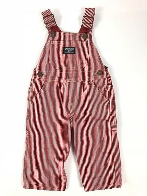 Oshkosh Bgosh Red Railroad Striped Overalls Lined 12 Months Boys