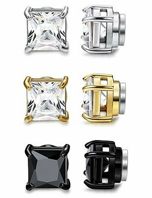 3 Pairs Non Piercing Stainless Steel Magnetic Stud Earrings Womens Men CZ Orazio