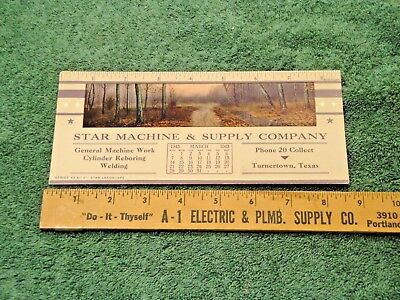 Vintage Star Machine & Supply Turnertown Texas 1943 Blotter