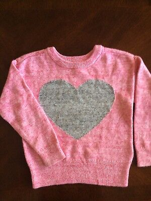 BabyGap Girls 4 T Sweater Pink Knit Pullover W/ Gray Heart Perfect for Holidays