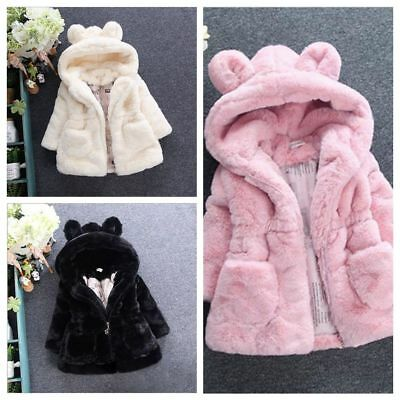 Hot Toddler Kids Girls Baby Faux Fur Fleece Coat Winter Warm Jacket Outerwear