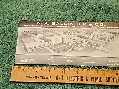 Vintage W A Ballinger & Co Advertising Blotter Unused